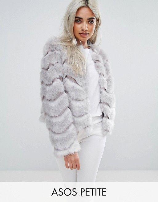 ASOS PETITE Chevron Faux Fur Jacket Faux-fur outer Fully lined ...
