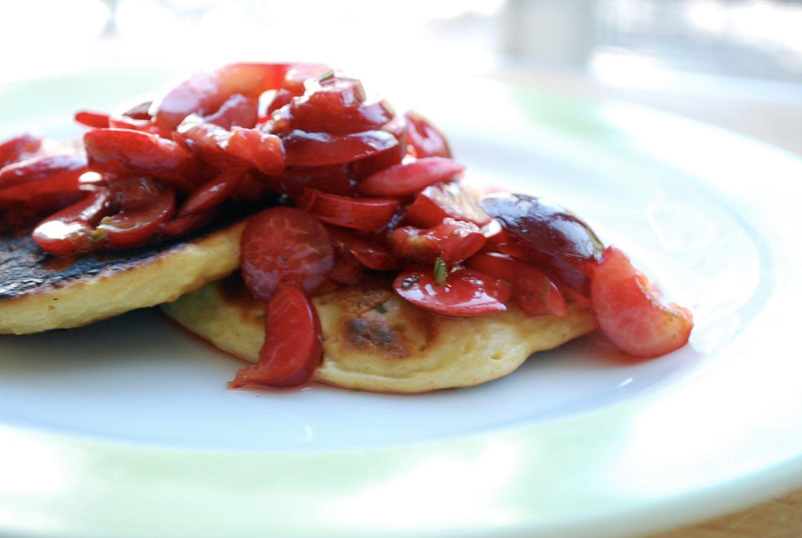 rosemary polenta pancakes with sliced cherries and lime: polenta, nondairy milk, fresh rosemary