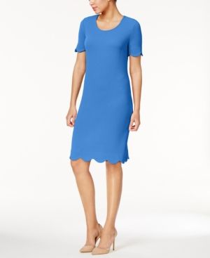 Ny Collection Textured Scalloped Dress - Blue XS