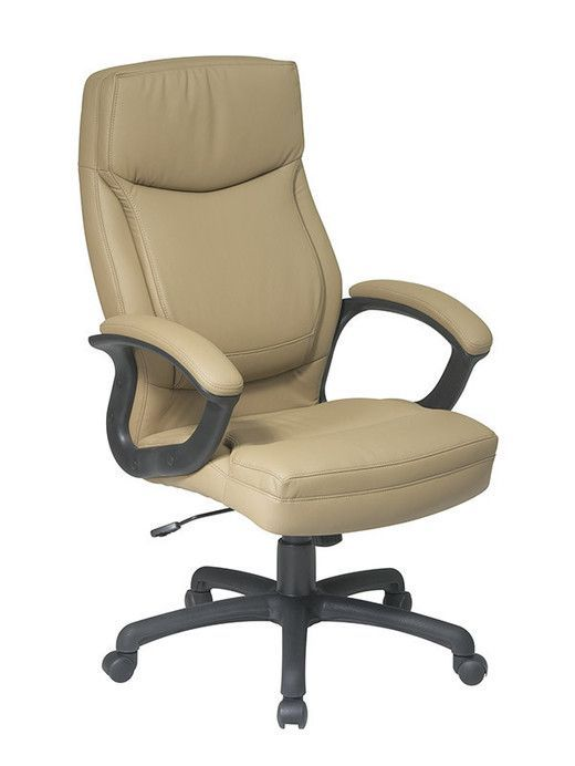 Office Star EC6583 EC21 Executive High Back Tan Bonded Leather Chair With  Locking Tilt Control