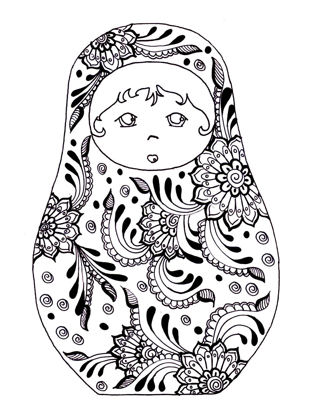 Free Printable Adult Colouring Page. Russian Dolls. Source: coloring ...