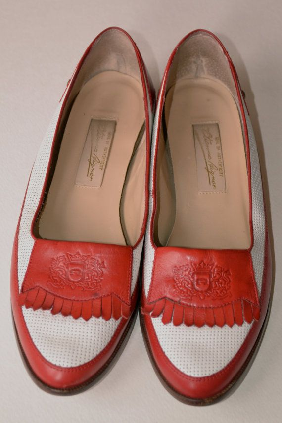 1a03c3fe127 Etienne Aigner Vintage 90 s Red and White Loafers by VintageOttik ...