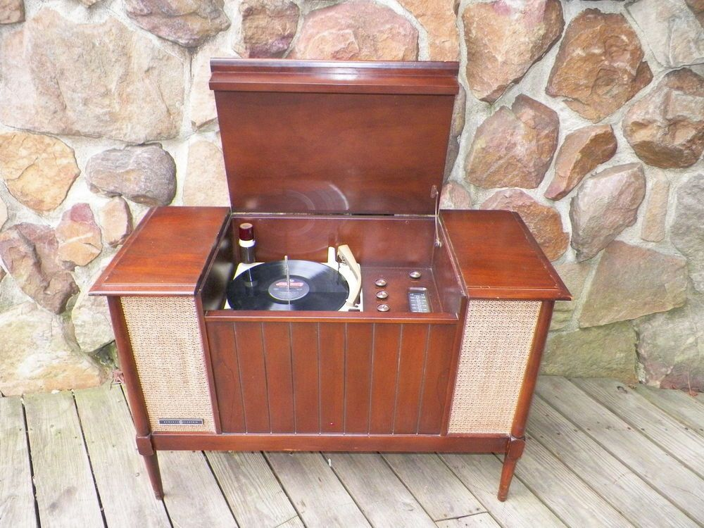 ge console vintage record player