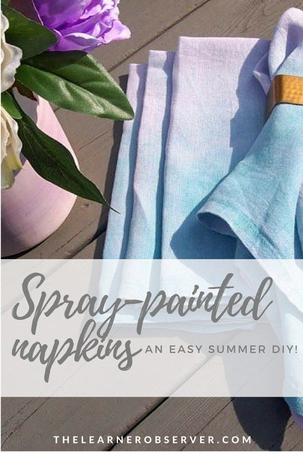 Using spray ink for fabric to dye napkins for a fresh Spring or Summer look!