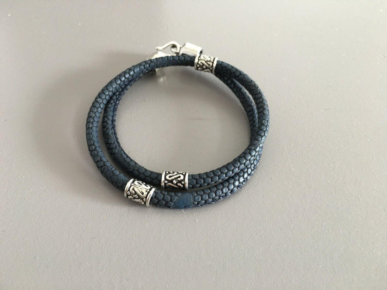 Mens Personalized Bracelet, Blue Python Leather Bracelet For Men, Unisex  Jewelry, Double Round Bracelet For Men, For Boy