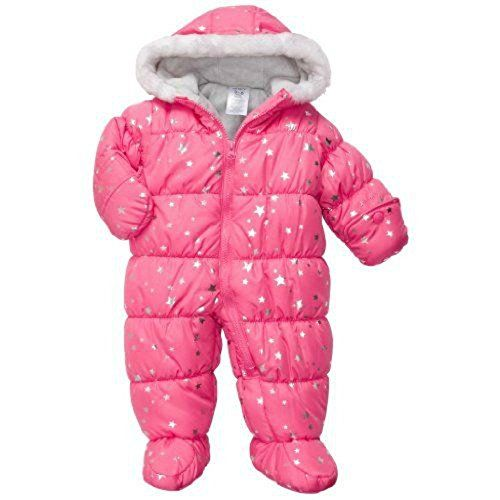 2b852ba56 Carters Infant Girls Pink Foil Hearts Snowsuit Baby Pram Snow Suit ...