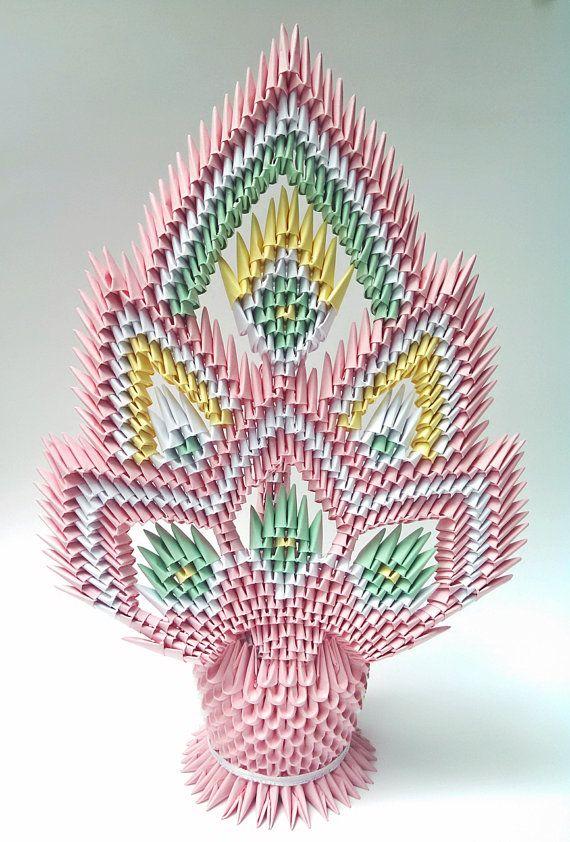 Pastel 3d Origami Open Tail Peacock Door ArtsyHandsCreations