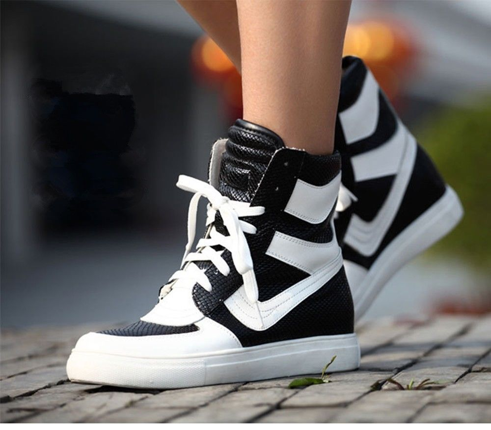 Black girl's Sport fashion high shoes top quality Korean Style Sneakers Boot