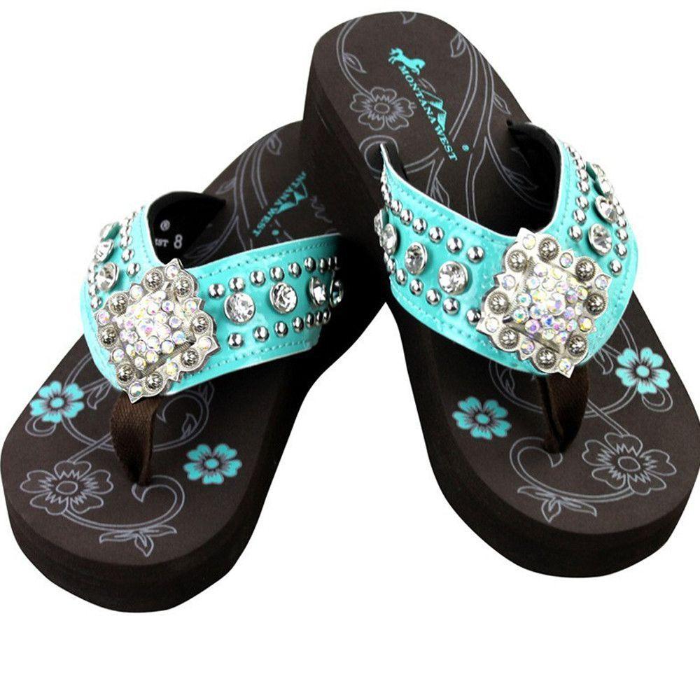 afe2eb84c Montana West Flip Flops Western Rhinestone Floral Turquoise Sandals ...