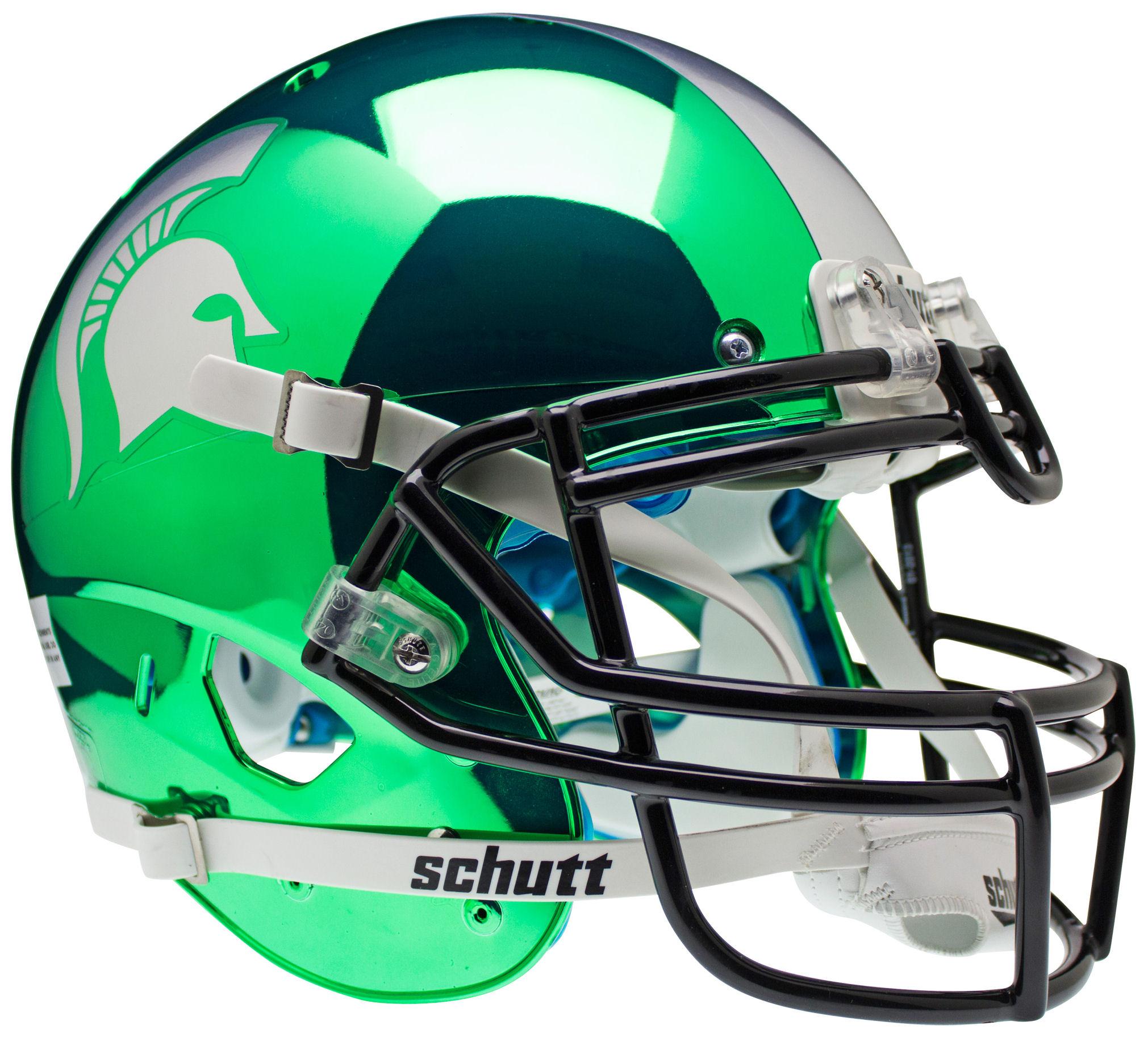 Michigan State Spartans Authentic College Xp Football Helmet Schutt Chrome Football Helmets College Football Helmets Michigan State Spartans