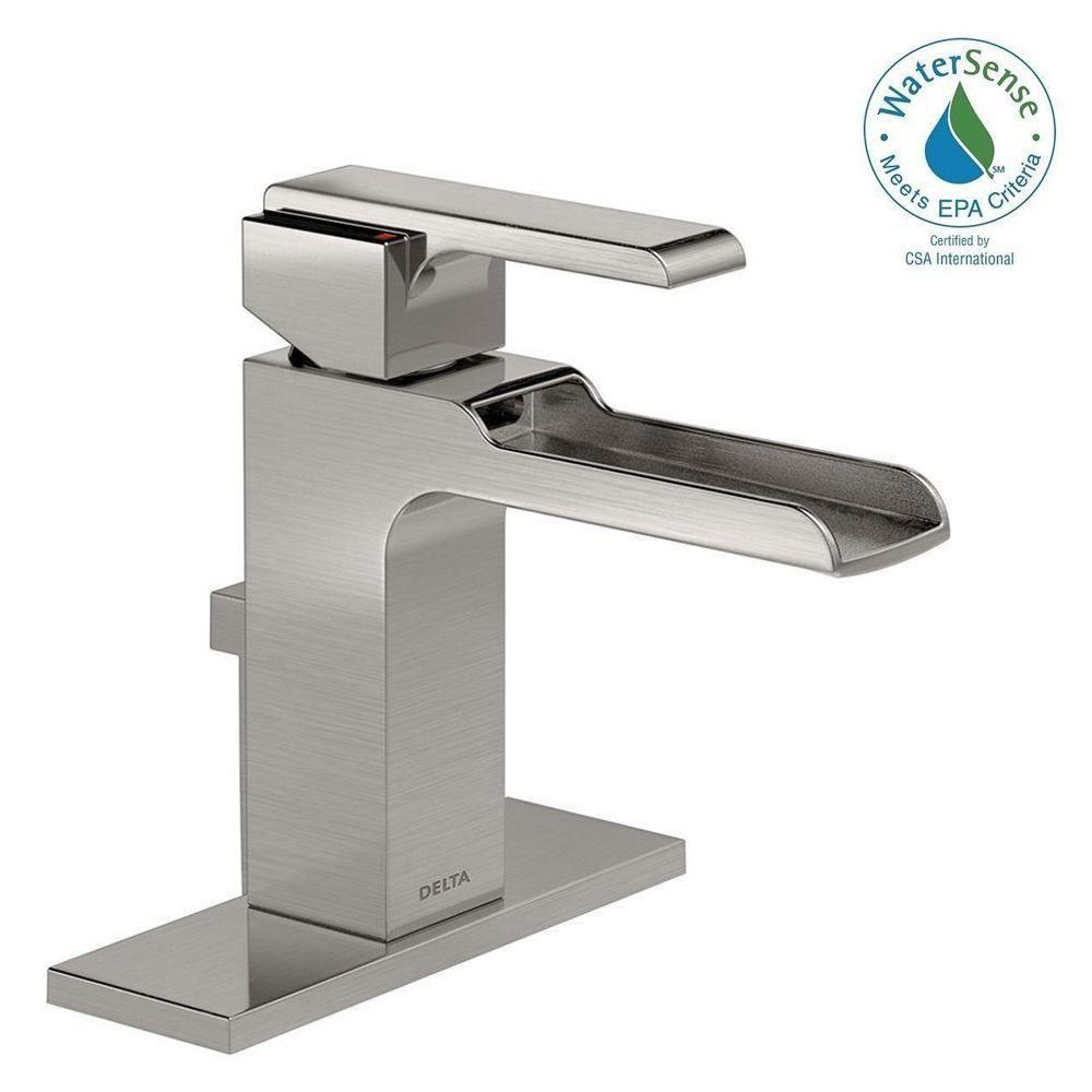 Delta Ara Single Hole Single Handle Open Channel Spout Bathroom Faucet With Metal Drain Assembly In Bathroom Faucets Delta Faucets Single Hole Bathroom Faucet [ 1000 x 1000 Pixel ]