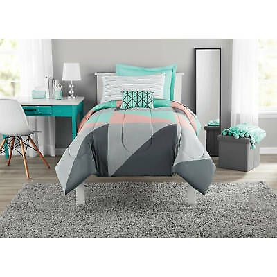 Mainstays Grey And Teal Bed In A Bag Bedding Set Queen