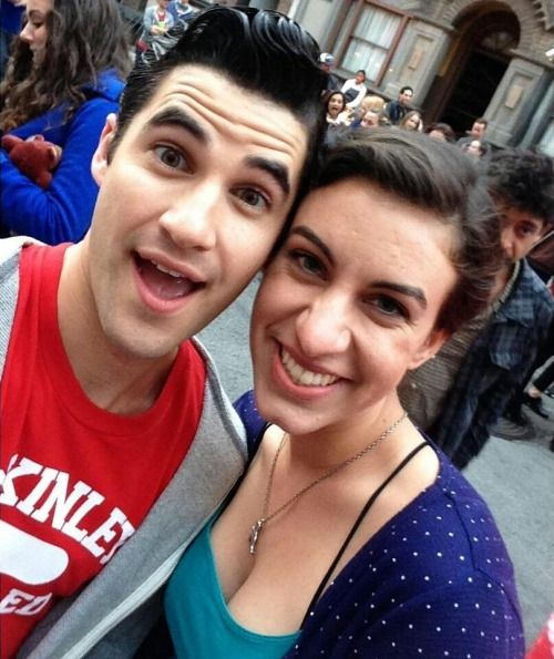 andiezohoori: Last day of #glee filming yesterday with one of my favorites, the lovely #darrencriss! ❤ #setlife #gleegoodbye