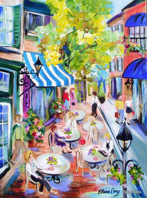 Landscape Cafe Street Scene Original Painting 18 x 24 Original Art ...