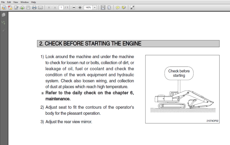 Hyundai R305lc 7 Crawler Excavator Operator Manual Pdf Download Excavator Hyundai Hydraulic Breaker