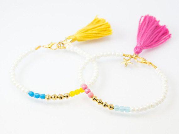Beaded Bracelet beaded bangle tassel bracelet cute by Haneelove