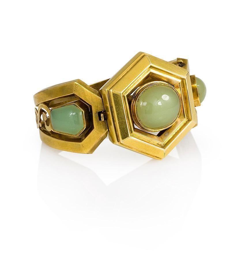 Kentshire | An antique green chalcedony bangle bracelet. | New York