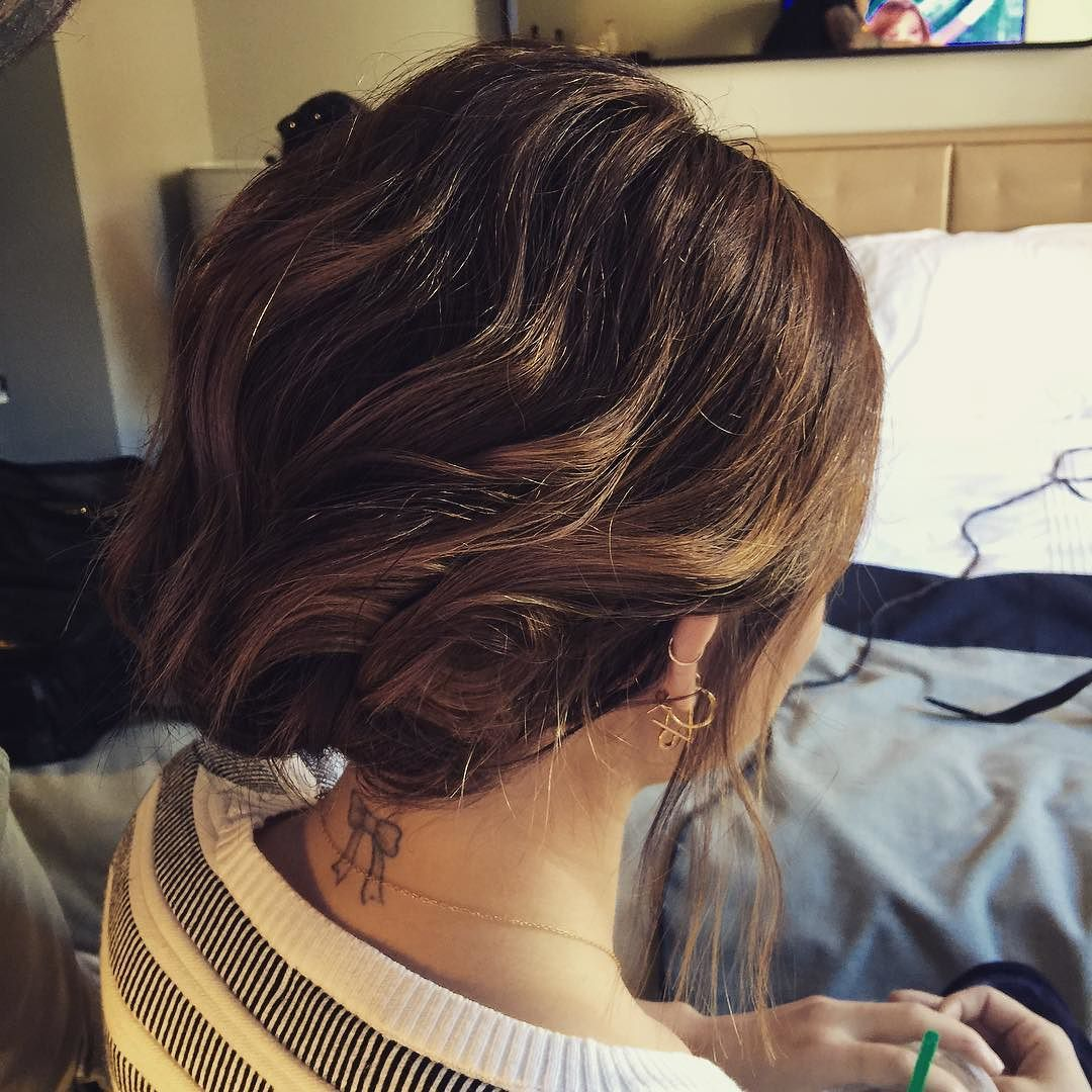 Thank you @ryantrygstadhair for fitting my bob until this insanely cool updo #nyfw by lucyhale