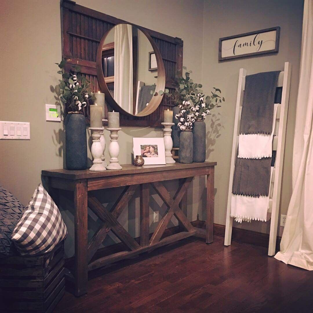 Hallway Farmhouse Decor: Buffet Table At The Entrance..just Have Window Instead Of