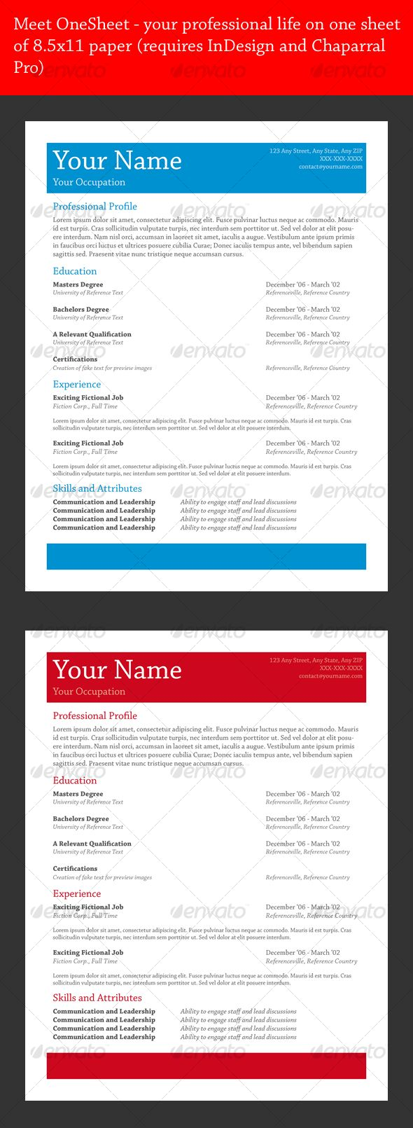 onesheet resume design two pack by markhowson simplicity is important in the ever competitive