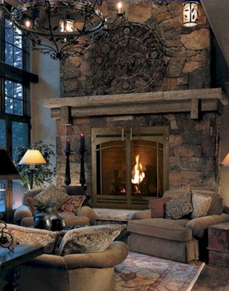Big Stone Fireplace Large Mantel Nice Stones Yes Please Corner Fireplace Living Room Fireplace Design Rustic Farmhouse Fireplace