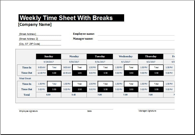 Weekly Time Sheet For Employees With Break Download At HttpWww