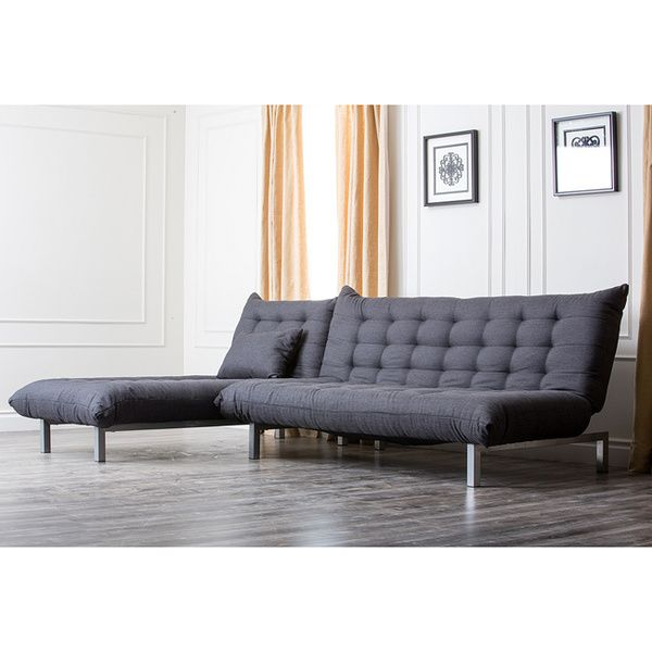 Abbyson Living Bedford Gray Linen Convertible Sleeper Sectional
