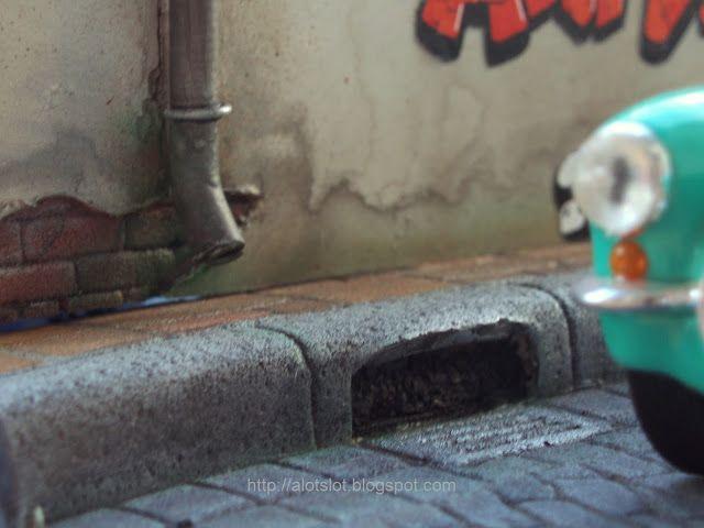 Diorama Cobblestone Street   Diorama Calle Adquines #slot #slotcar #diorama #scalextric #ninco #carrera #scx  #diorama #street #cobblestone #alotslot #calle #callejon #adoquines #acera
