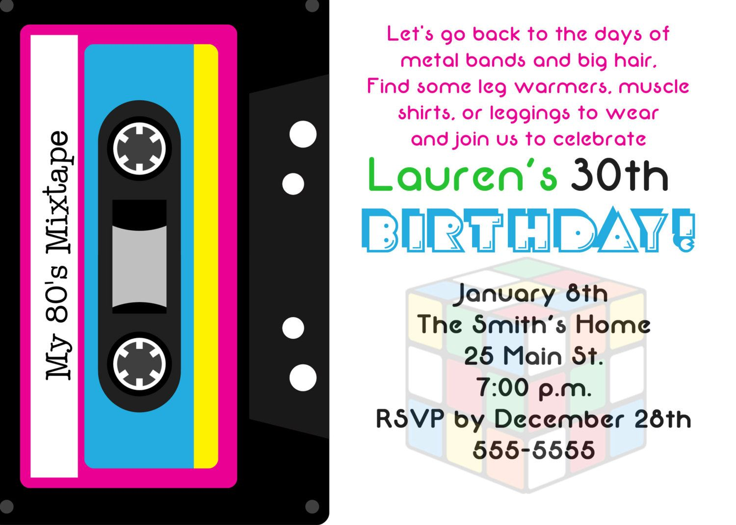 80s Theme 30th Birthday Party Invitation 80 s 30 birthday