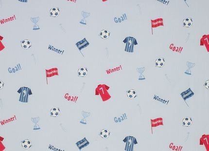 Football Cotton Fabric For little boys who are football mad, what could be better than this pure cotton fabric decorated all over with football paraphernalia. Designed to complement our Football bedding and wallpaper for boys bedrooms.