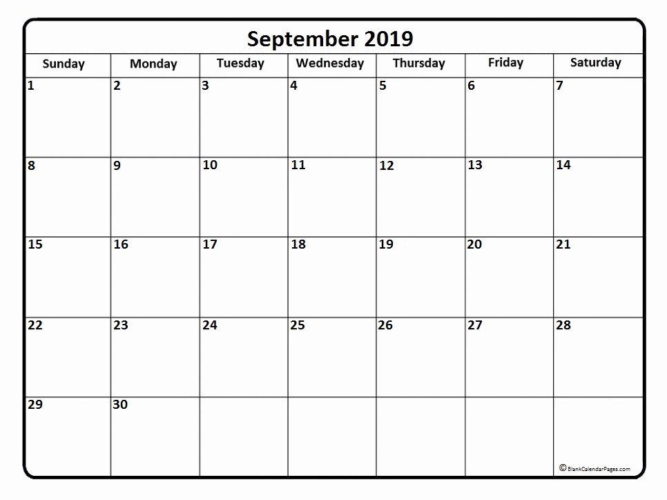 Blank September 2019 Calendar Template Calendar 2019 Printable