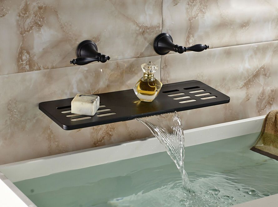New Waterfall Oil Rubbed Bronze Bathroom Faucet Soap Dishes Shelf