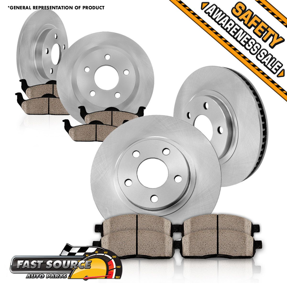 Fit 2000-2001 Toyota Camry Front PSport Gold Drilled Brake Rotors+Ceramic Pads