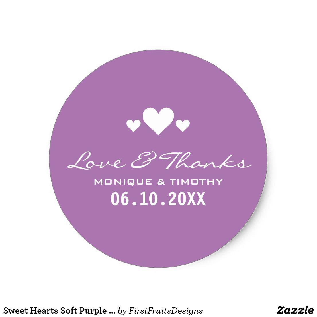 Wedding decorations lavender september 2018 Sweet Hearts Soft Purple Wedding Thank You Classic Round Sticker