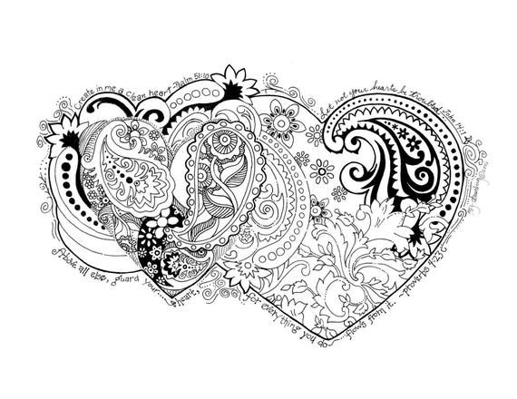Coloring Page Hand Drawn Create In Me A Clean Heart Products In