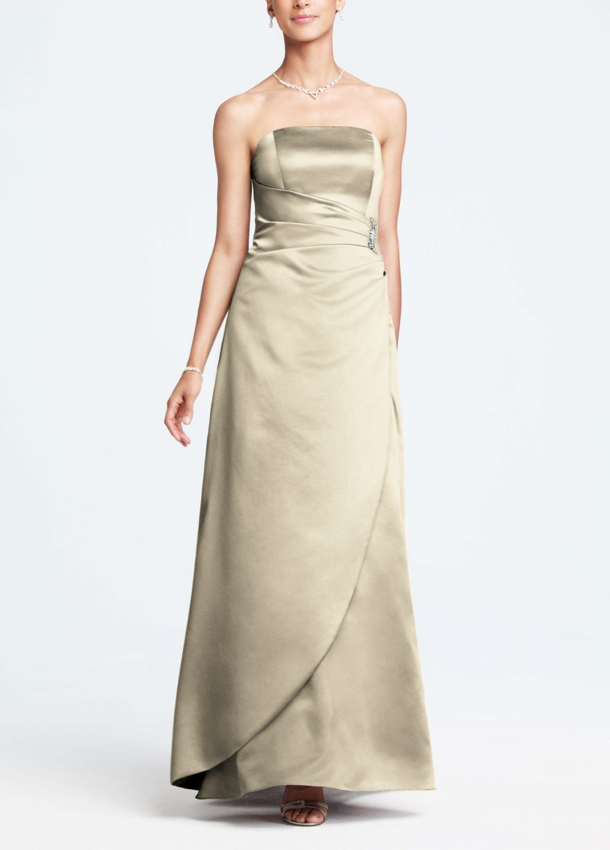 88247ce9a43 11 David s Bridal - Satin Gown with Side Drape   Brooch Style 8567  Champagne  129.99