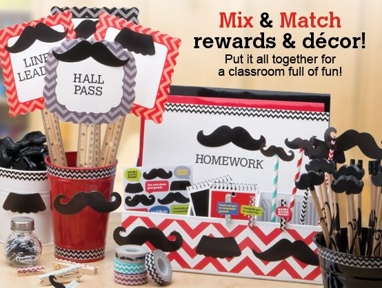 Put chevrons and moustaches together to decorate your classroom.