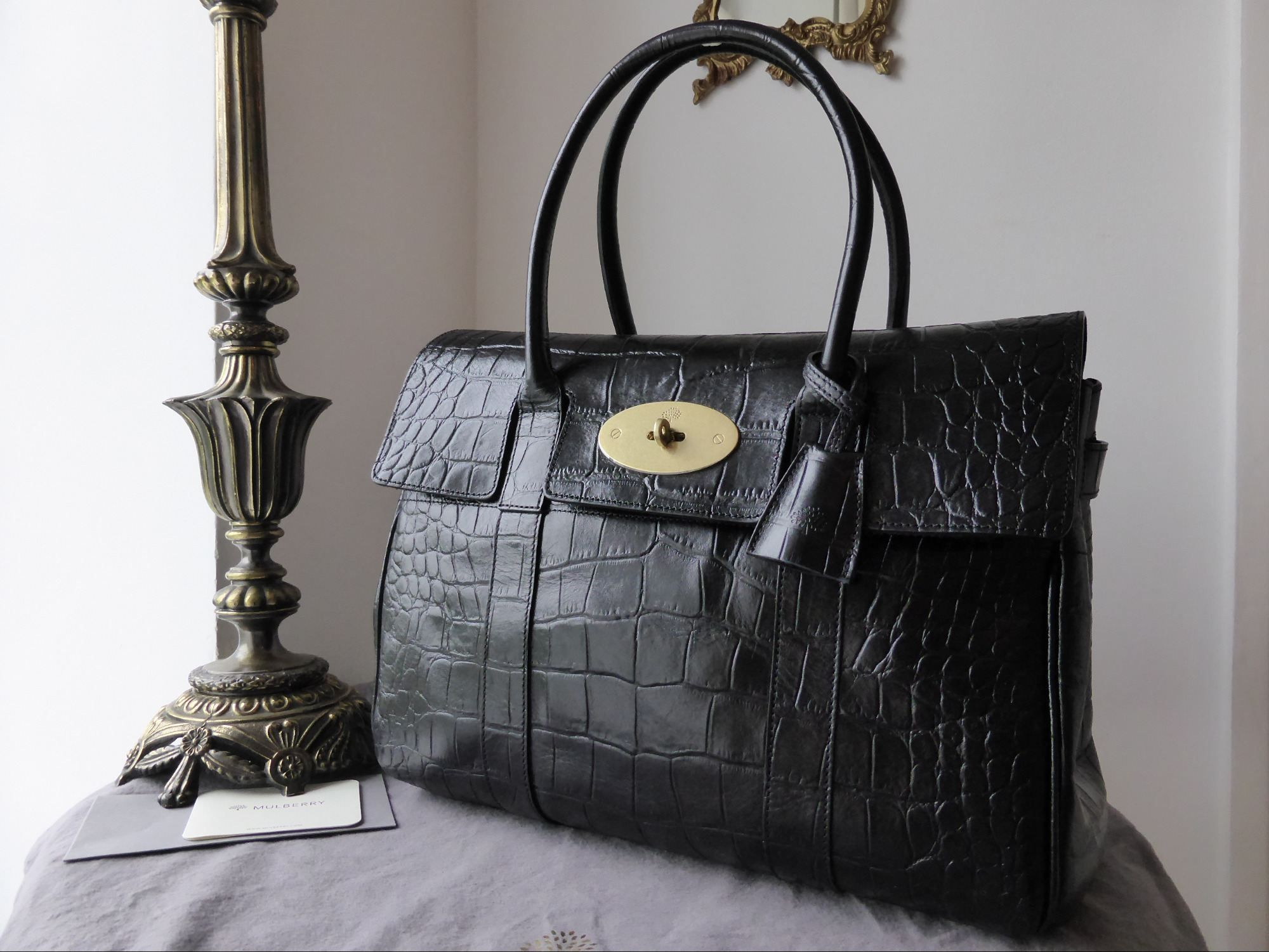 Mulberry Bayswater In Black Vegetable Tanned Printed Leather
