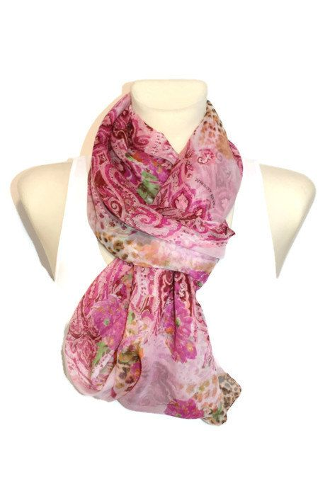 Pink Floral Silk Scarf  Infinity Scarf  Loop Scarf  by LocoTrends, €24.39