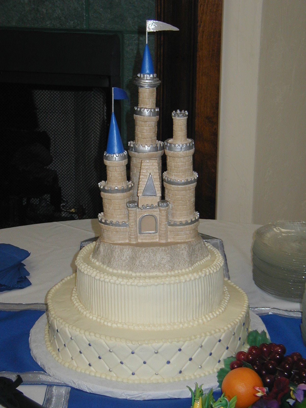 Two tier Cinderella Castle wedding cake