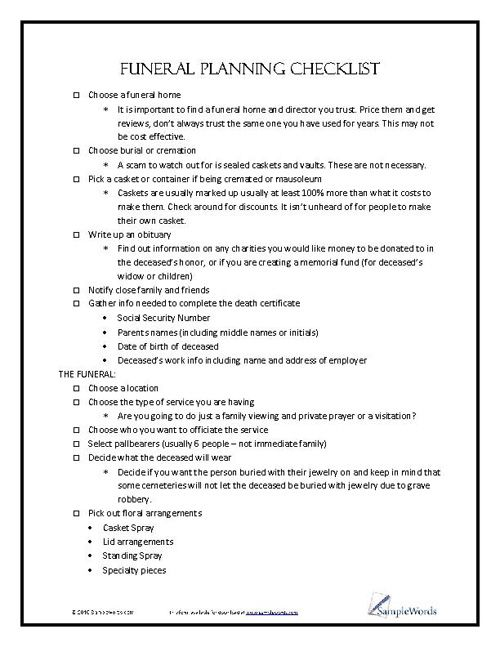 Funeral Planning Checklist  Funeral Planning Checklist Funeral And