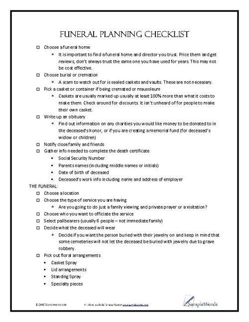 Funeral Planning Checklist | Pinterest | Funeral planning checklist ...
