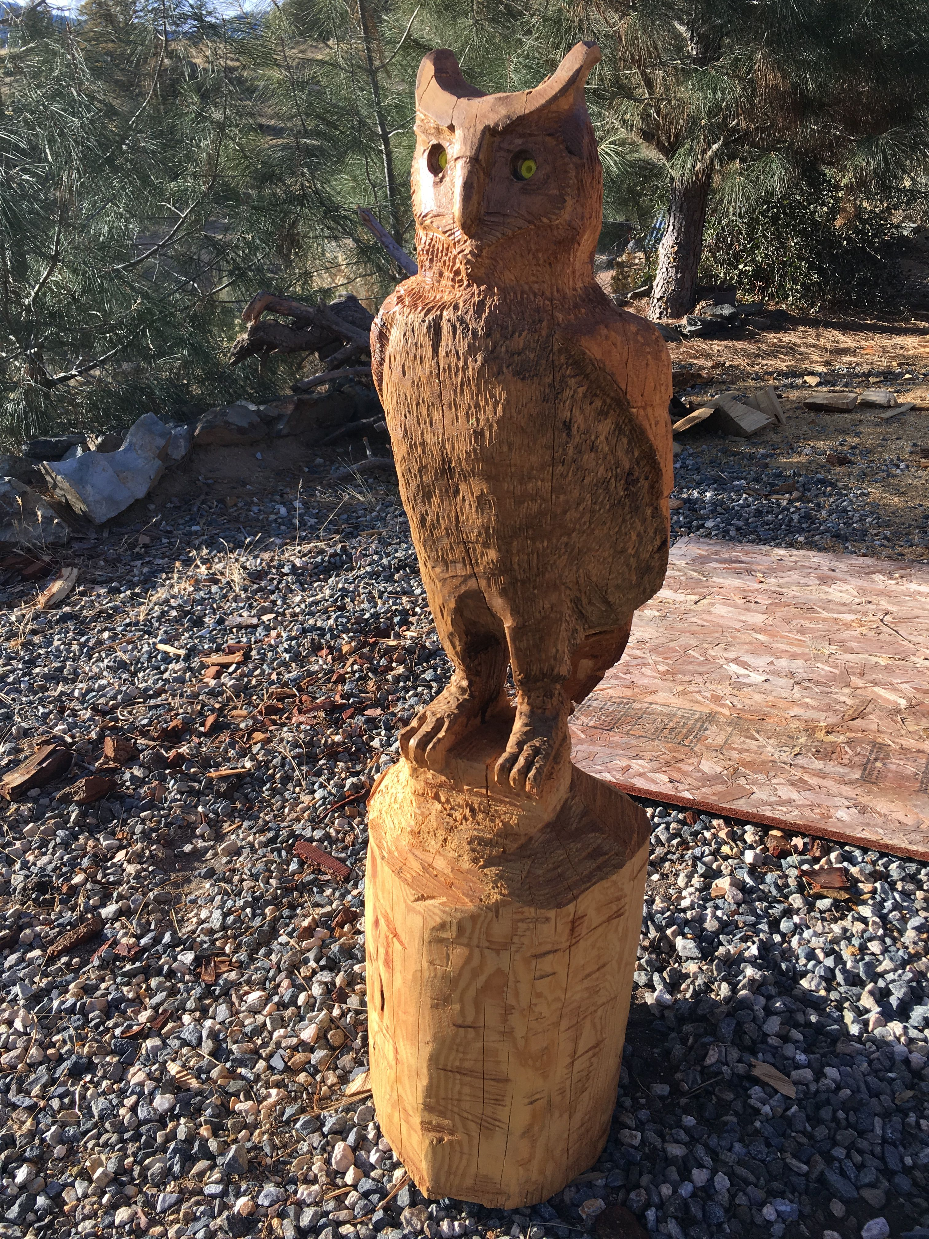 Owl chainsaw art wooden stock photo image of eyes gold