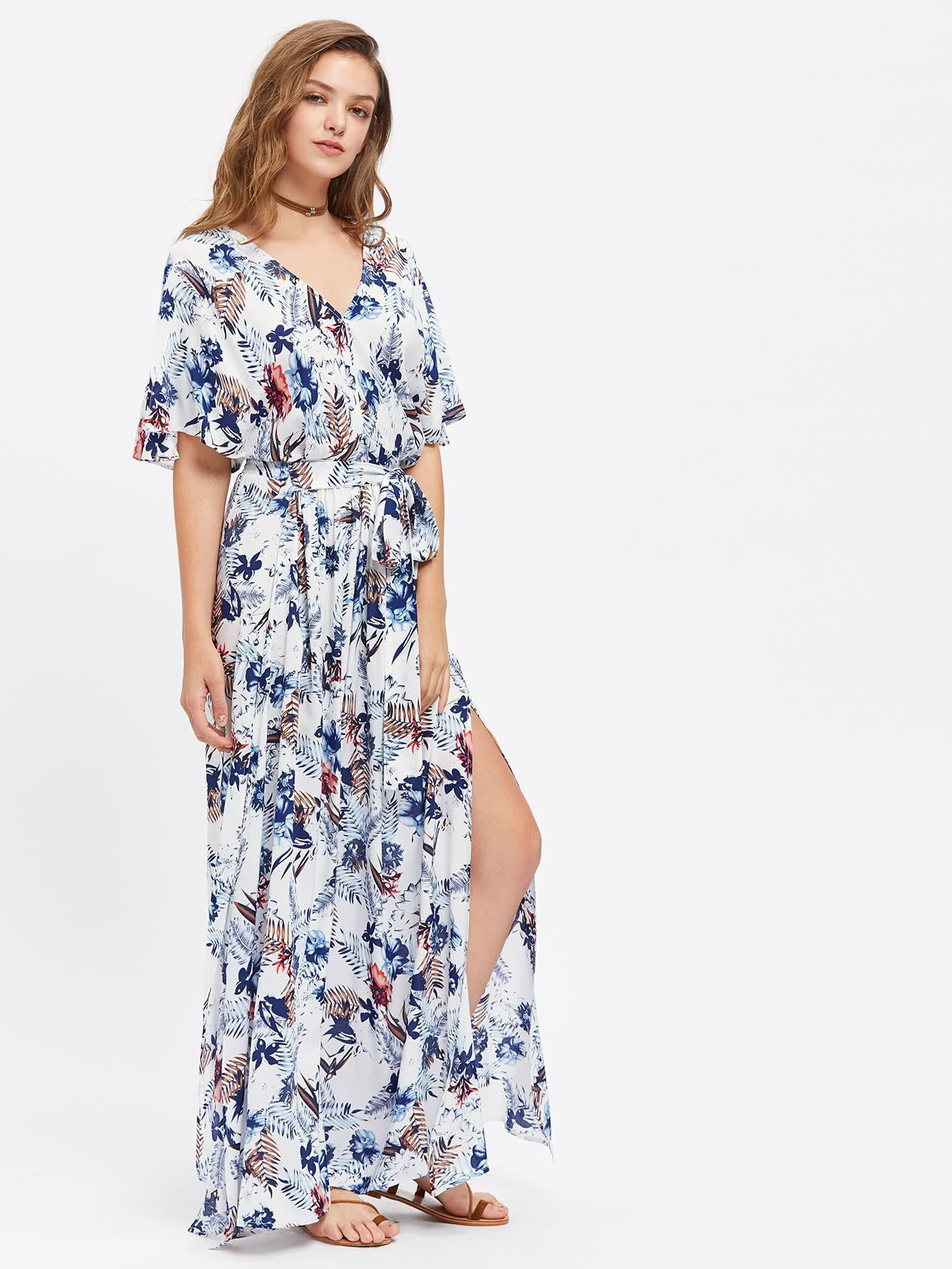 1f31cfc7d0675d Belt: YES Fabric: Fabric has no stretch Season: Summer Type: Kimono Pattern  Type: Floral Sleeve Length: Half Sleeve Color: Multicolor Dresses Length:  Maxi ...
