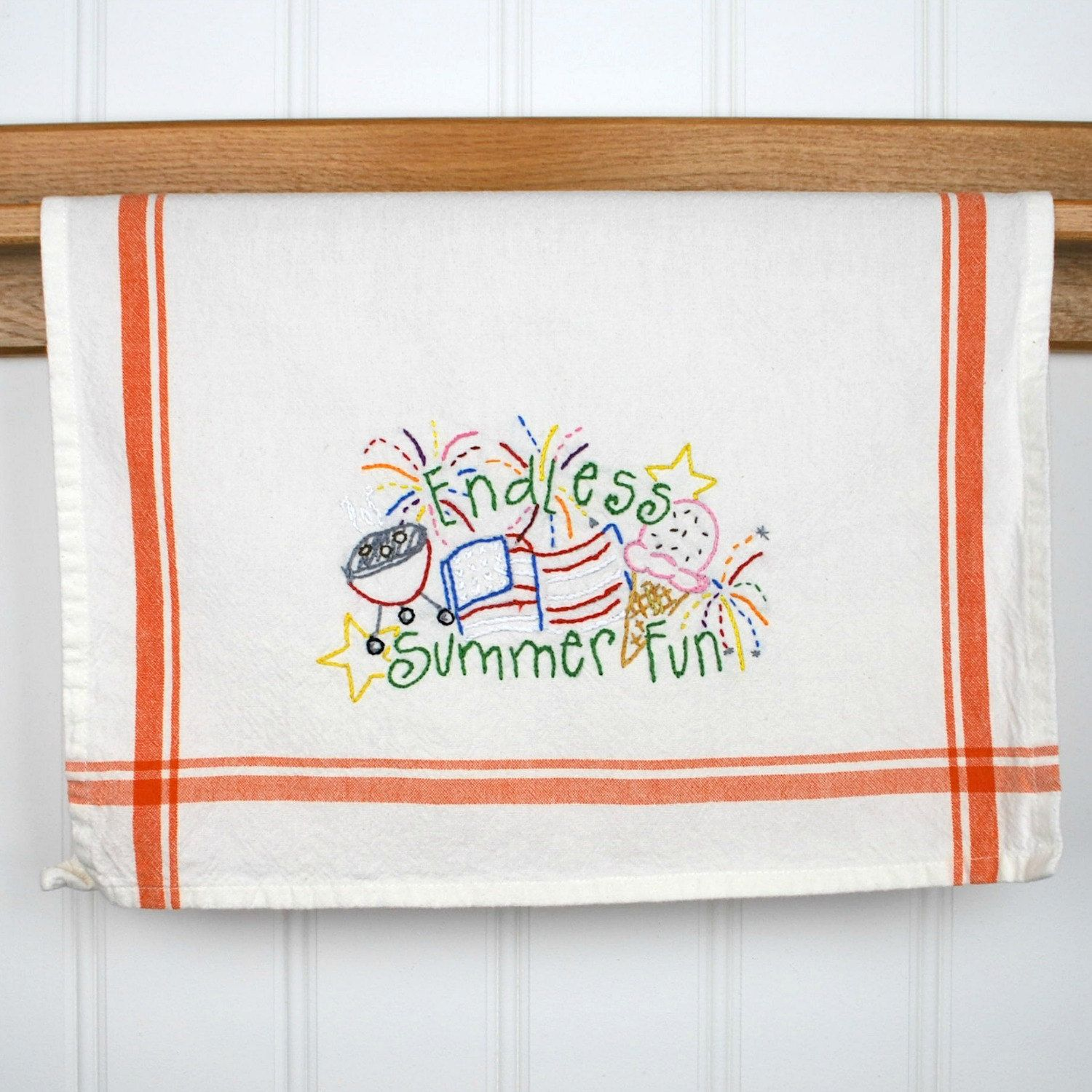Summer Fun Dish Towel, Hand Embroidered Kitchen Towel, Kitchen Decor By  SuzieQzCreations On Etsy