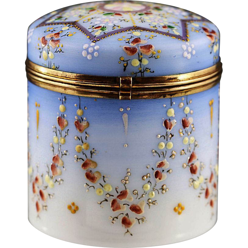 antique victorian trinket boxes | Antique Victorian era Opaline enamelled glass trinket hinged Box