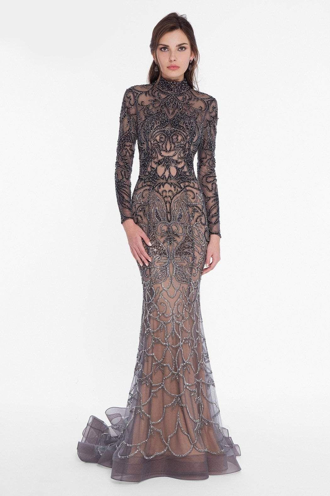 noch nicht vulgär neuesten Stil von 2019 Kostenloser Versand Terani Couture Long-Sleeved Rich Beaded Evening Gown | Langärmlige ...