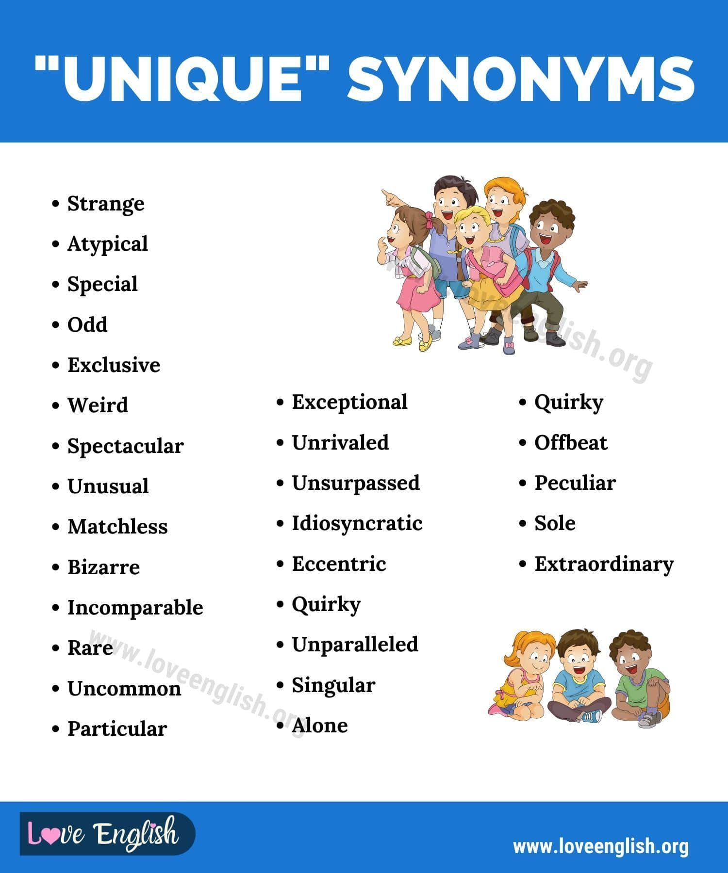 Unique Synonym 27 English Synonyms For Unique To Expand Your Vocabulary Love English Interesting English Words Good Vocabulary Words Unique Synonym