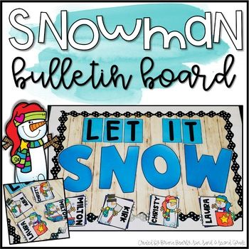 Winter Snowman Bulletin Board or Door Decoration #decemberbulletinboards