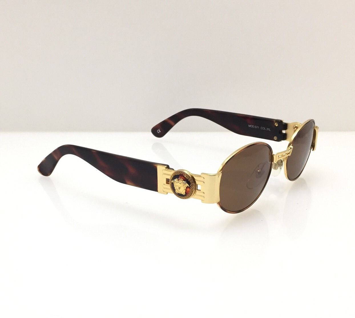 95a645089b00 Gianni Versace Vintage Sunglasses MOD S71 COL 31L Rare Gold Tortoise IFC